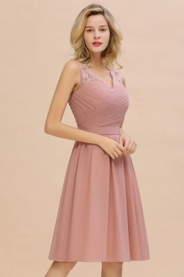 A-line V-neck Knee Length Homecoming Dress | Dusty Rose Chiffon Party Dress with Pleats_9
