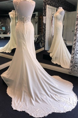 Exquisite Jewel Sleeveless Wedding Dress | Sheath Tulle Lace Open Back Bridal Gown