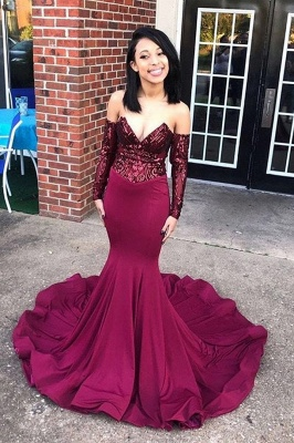 Sexy Off the Shoulder Appliques Prom Dress | Chic V Neck Long Sleeves Prom Gown