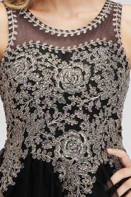 Cute Crew Neck Open Back Beaded Lace Appliques Homecoming Dresses_18