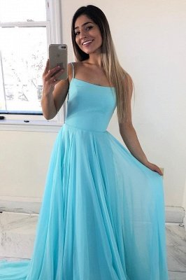 A-line Spaghetti Straps Criss-Cross Straps Prom Dress | Plain Cyan Chiffon Prom Gown