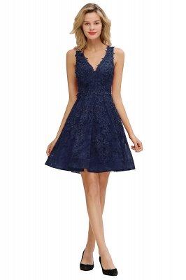 Princess V-neck Knee Length Lace Appliques Homecoming Dresses_4