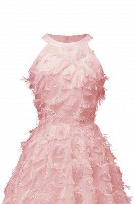 Gorgeous A-line Burgundy Halter Feather Princess Vintage Short Dresses_11