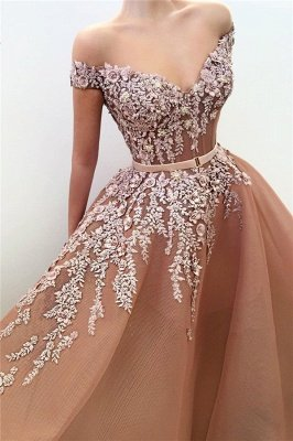 Unique Off the Shoulder Sweetheart Long Prom Dress | Chic Ball Gown Applqiues Sleeveless Affordable Prom Dress_2