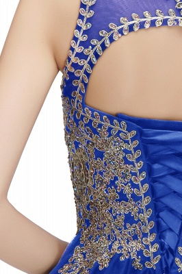 Cute Crew Neck Open Back Beaded Lace Appliques Homecoming Dresses_15