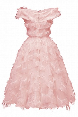Lovely off-the-shoulder Artifical Feather Princess Vintage Homecoming Dresses_8