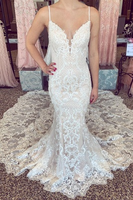 Sexy Lace Mermaid Wedding Dresses | Spaghetti Straps V-neck Lace Bridal Dresses