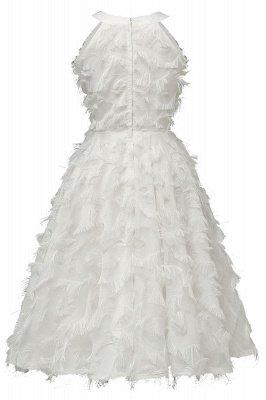 Gorgeous A-line Burgundy Halter Feather Princess Vintage Short Dresses_18