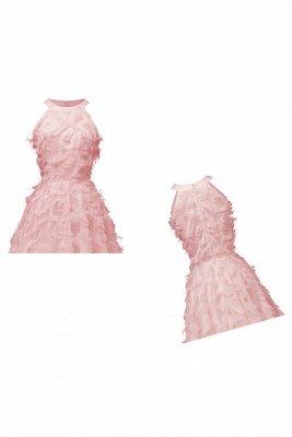Gorgeous A-line Burgundy Halter Feather Princess Vintage Short Dresses_17