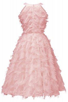 Gorgeous A-line Burgundy Halter Feather Princess Vintage Short Dresses_9
