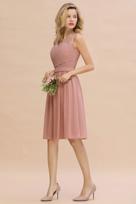 A-line V-neck Knee Length Homecoming Dress | Dusty Rose Chiffon Party Dress with Pleats_13