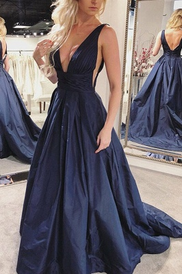 A-line Deep V-neck Open Back Prom Dress | Sexy Navy Blue Long Evening Dress