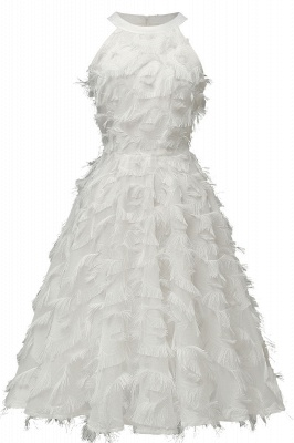 Gorgeous A-line Burgundy Halter Feather Princess Vintage Short Dresses_1