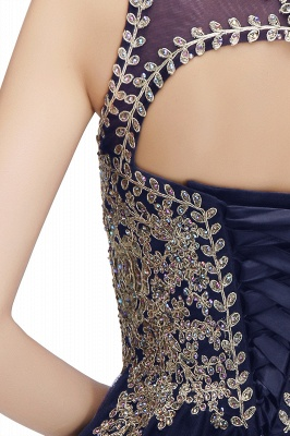 Cute Crew Neck Open Back Beaded Lace Appliques Homecoming Dresses_20
