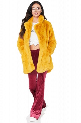Yellow Stick Up Neckline Medium Long Fuzzy Coat_6