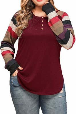 Striped Sleeves Buttoned Slim Fit Plus Size Women's Shirts_3