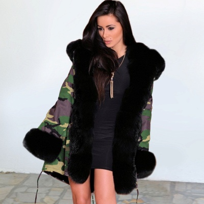 Camo Military Premium Fur Trim Parka Coat with Faux Fur Hood_8