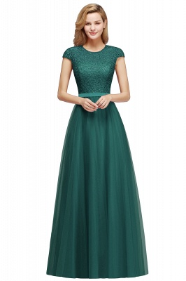 Cheap A-line Jewel Tulle Lace Bridesmaid Dress in Stock_7