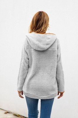 Women's Fall Winter Halp Zip Fuzzy Pullovers With Pockets_12