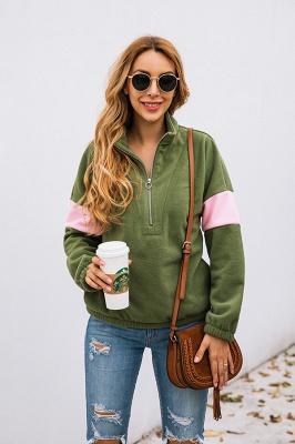 Women's Winter Patchwork Halp Zip Fuzzy Pullovers_11