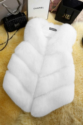 Grey Collarless Layered Fox Fur Gilet_1