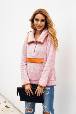 Women's Fall Winter Halp Zip Fuzzy Pullovers With Pockets_21