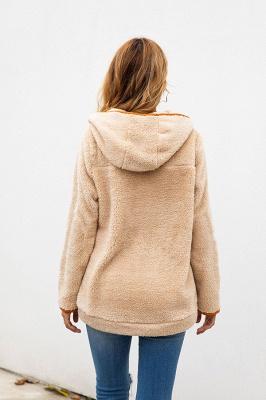 Women's Fall Winter Halp Zip Fuzzy Pullovers With Pockets_9