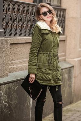 Women's Fashion Hunt Lamb Wool Collar Parka Coat_6