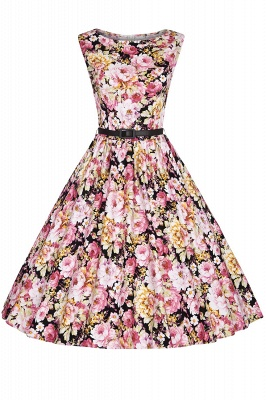 1950S Belted Floral Printed Retro Dress_1