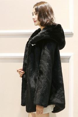 Black Cape Type Hooded Faux Fur Coat_4