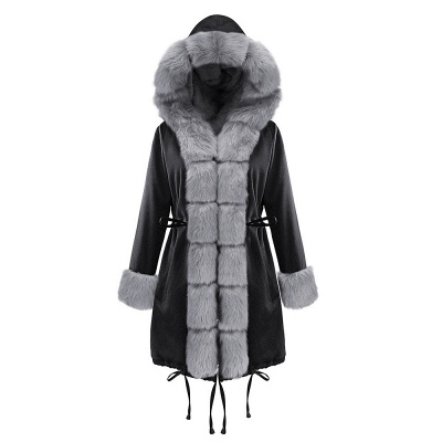 Premium Fur Trimmed Parka Coat with Faux Fur Hood_32