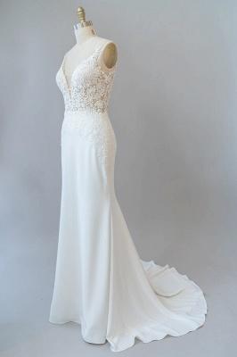 Cheap Floor Length Lace Chiffon Sheath Wedding Gowns_5