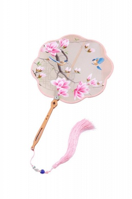 Chinese Vintage Su Embroidery Court Fan With Tassel Pendant_1