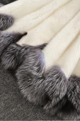 Women's Fashion Hooded White Fox Fur Coat_13