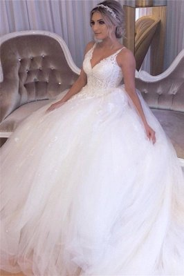 Glamorous Straps V-neck Court Train Ball Gown Lace Tulle Wedding Dresses_4