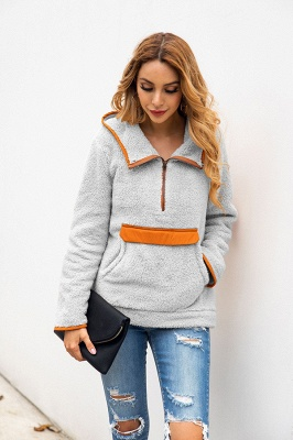 Women's Fall Winter Halp Zip Fuzzy Pullovers With Pockets_13