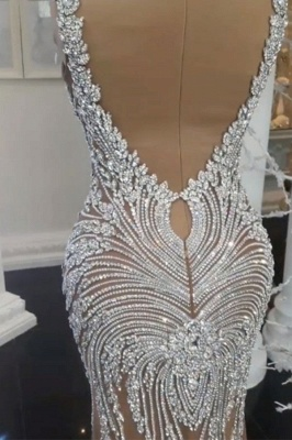 Charming Crystals Mermaid Wedding Dresses | V-Neck Backless Champagne Bridal Gowns_3