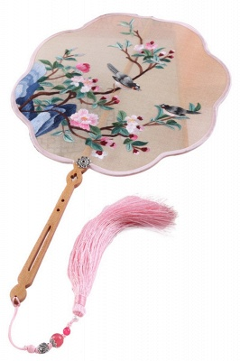 Chinese Traditional Hand-Embroidered Peach Blossom Silk Round Fan_1