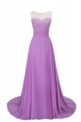 Cheap Grape A-line Sleeveless Sweep Train Prom Dress_3