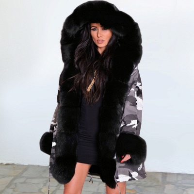 Camo Military Fur Lined Parka Coat with Faux Fur Hood_2