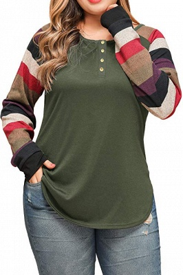 Striped Sleeves Buttoned Slim Fit Plus Size Women's Shirts_2