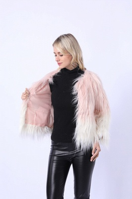 Women's Lovely Pink Faux Fur Duster Coat_6