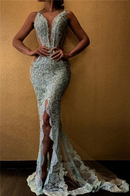 Spaghetti Straps Deep V-neck Front Slit Lace Mermaid Prom Dresses_1