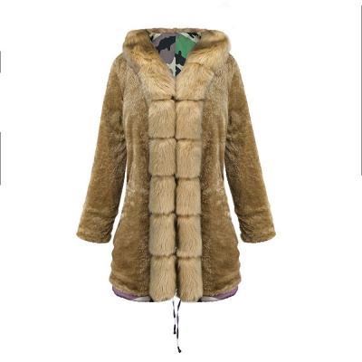 Camo Military Premium Fur Trim Parka Coat with Faux Fur Hood_40