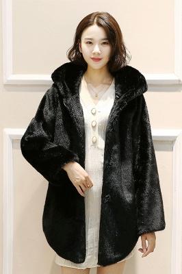 Black Cape Type Hooded Faux Fur Coat_2