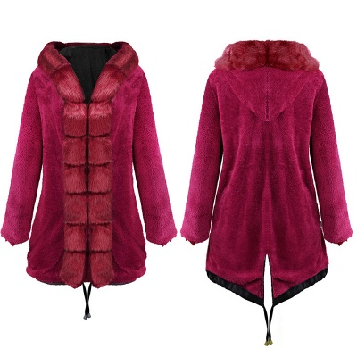 Premium Fur Trimmed Parka Coat with Faux Fur Hood_13