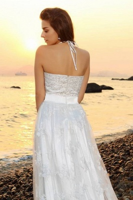 A-Line Lace Halter Wedding Dress | Sleeveless Floor-Length Bridal Gowns_3