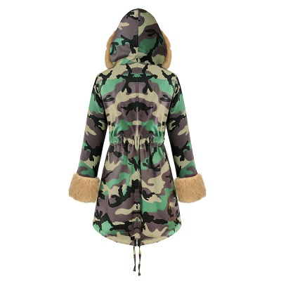 Camo Military Premium Fur Trim Parka Coat with Faux Fur Hood_36