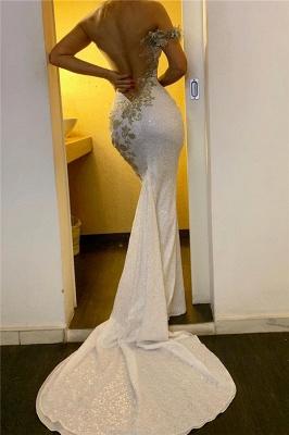Glittery One Shoulder Strap Backless Mermaid Prom Dresses_2