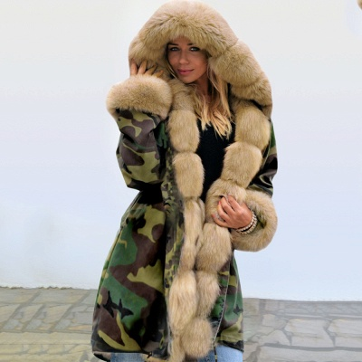 Camo Military Premium Fur Trim Parka Coat with Faux Fur Hood_11